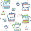 Tea seamless pattern with pots and cup cute — Stock Vector