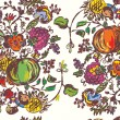 Seamless pattern with fruits for autumn hand drawn — ストックベクタ