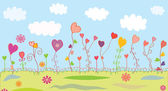 Summer floral background with hearts — Stock Vector