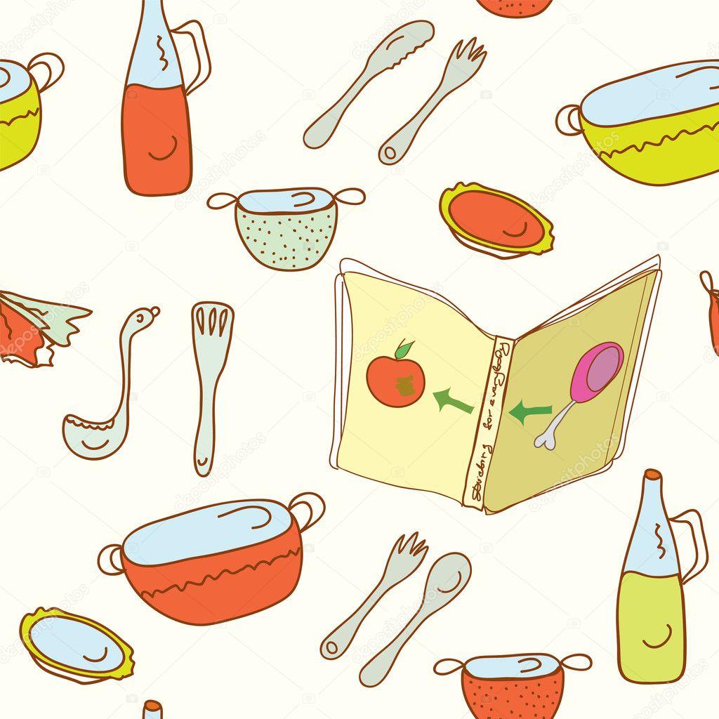 厨房烹饪无缝模式 — 矢量图片作者 tasia12