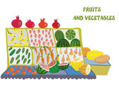 Fruits and vegetables market counter — Stock Vector