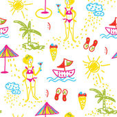 Funny beach seamless pattern hand drawn design — Vecteur