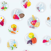 Vitamins and healthy eating symbols seamless — Stockvektor