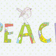 Peace background with sign and bird cute — Stock Vector #48605973