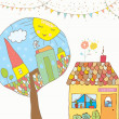 Greeting card or invitation with house, trees, bunting flags for kids — Cтоковый вектор #48606029