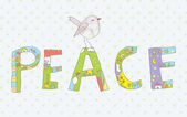 Peace background with sign and bird cute — Stockvector
