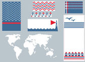 Sea banner and infographic elements set cute — Vetorial Stock