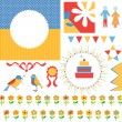 Birthday or party greeting set - frames, icons, flags — Stockvector  #49206615