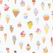 Ice cream seamless pattern funny design — Stock Vector
