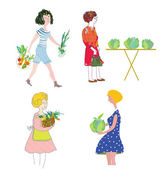 Women with vegetables shopping — Stock Vector