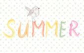 Banner de verano con pájaro artística — Vector de stock