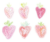 Set of strawberies - watercolor style — Stock Vector