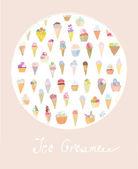 Ice cream cute card — Stock Vector