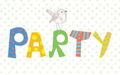 Funny party banner with texture and bird — Stock Vector