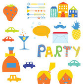 Party  elements set for hipster — Stock Vector