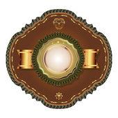 Złoty starodawny szablon godło i heraldyka starodawny styl. — Wektor stockowy