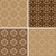 Seamless set four vintage backgrounds. — Stock Vector