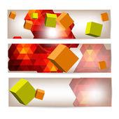 Uppsättning banners med 3d geometriska element. — Stockvektor