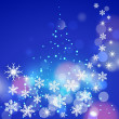 Abstract winter blue background with snowflakes and Christmas tr — Stock Vector #34274681