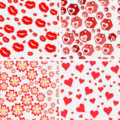 Set of seamless love patterns. — 图库矢量图片