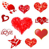 Hearts set on white background. — Stock Vector