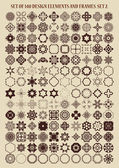 Set of 140 design elements and frames. — Stock Vector