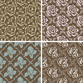 Set of seamless floral retro patterns.  — Stock Vector