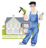 Handyman with house — Stock Vector