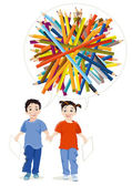 Children draw with Coloured Pencils — Stock Vector