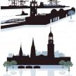 Hamburg Silhouette — Stock Vector