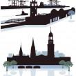 Hamburg Silhouette — Stock Vector