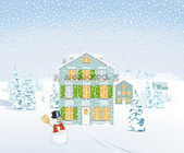 Winter landscape with houses and snowman — Stock Vector