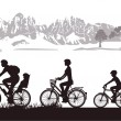 Stock Vector: Family Biking