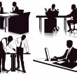 Stock Vector: Working in the office