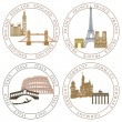 Europe landmarks and main cities - Stock Vector