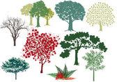 Ensemble d'arbres à feuilles caduques — Vecteur