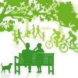 Green in the City Park — Stock Vector