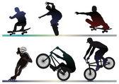 Skaete, bike, inline artist — Stock Vector