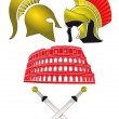 Legionnaires and Gladiator — Stock Vector