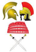 Legionnaires and Gladiator — Stock Vector