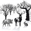 Deer, wild boar and rabbit in winter landscape — Stock Vector
