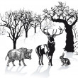 Deer, wild boar and rabbit in winter landscape — Stock Vector #22783224