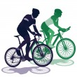 A couple on a bicycle — Stock Vector