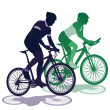 A couple on a bicycle — Imagen vectorial