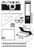 Camera en gebruiksvoorwerpen — Stockvector