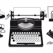 Old typewriter with office supplies - Stock Vector