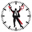 Man in time stress - Stock Vector