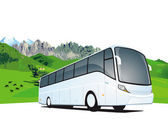 Bus travel in the mountains — Stock Vector