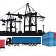 Stock Vector: Loading containers at the port