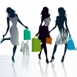 Three girls out shopping — Stock Vector